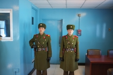North Korean Soldiers Blocking Entrance to the South