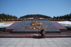 Guide Laying Down Flowers at the Revolutionary Martyrs' Cemetery