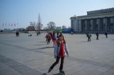 Rollerbladers at Kim Il Sung Square