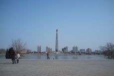 The Juche Tower from Kim Il Sung Square