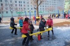 Children at the Taedong River Park Playground